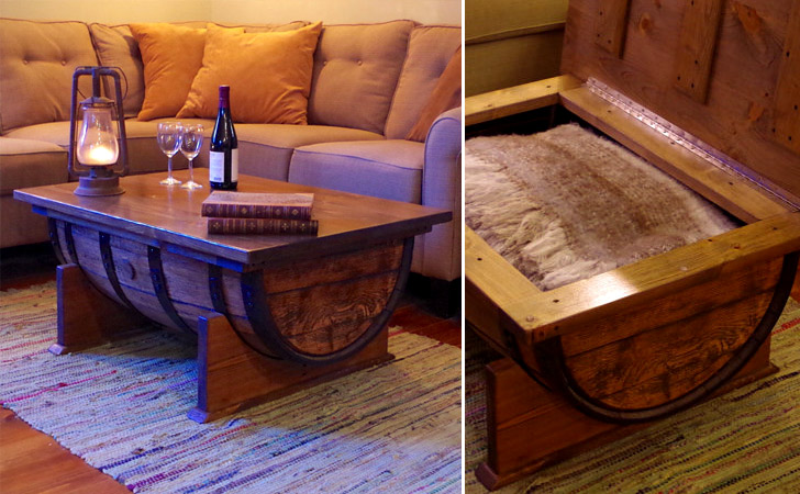 Whiskey Barrel Coffee Table With Storage