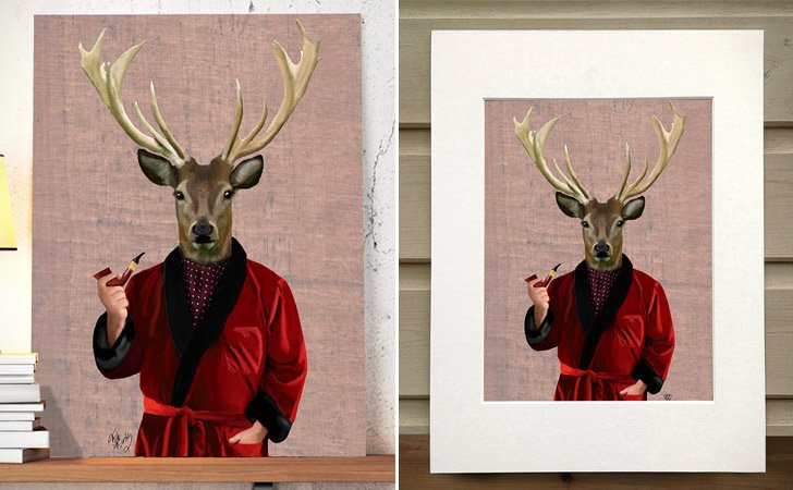 """Deer In Smoking Jacket"" Wall Hanging Poster"
