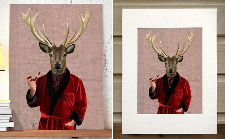 """""""Deer In Smoking Jacket"""" Wall Hanging Poster"""