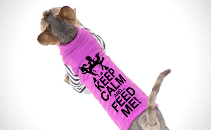 """Keep Calm & Feed Me"" Cat Shirt"