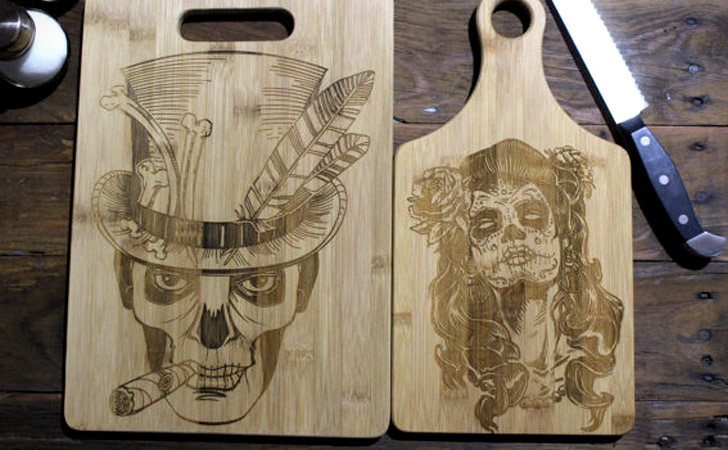 2-Piece Husband & Wife Day Of The Dead Cutting Boards - cool cutting board