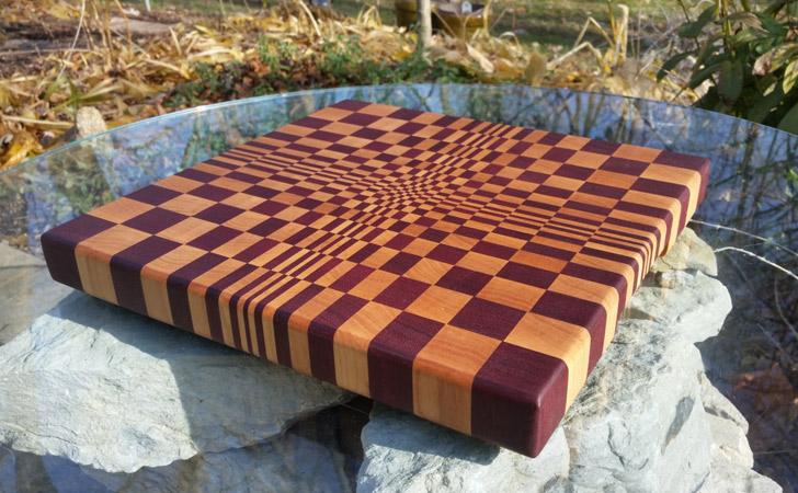 3D End Grain Wooden Cutting Board - cool cutting boards