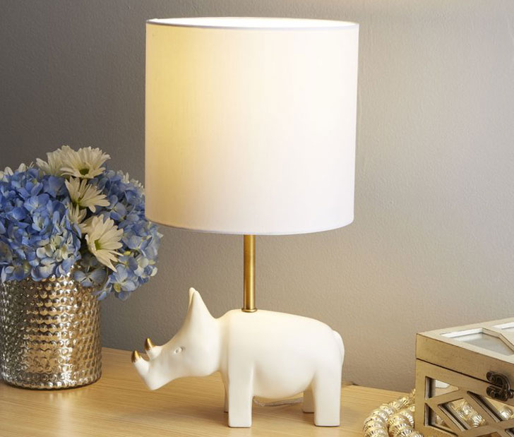 Accented Rhino Lamp