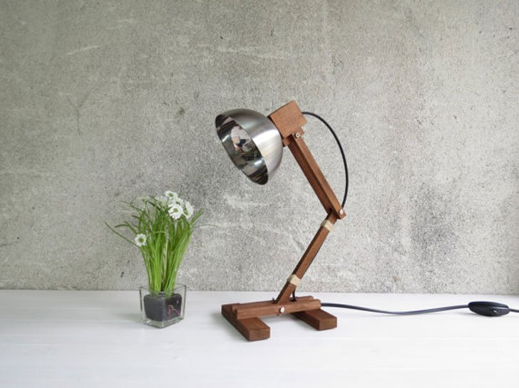 Adjustable Wooden Reading Lamp