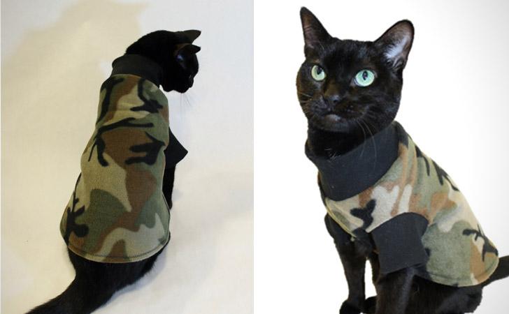 Camouflage Fleece Cat Shirt