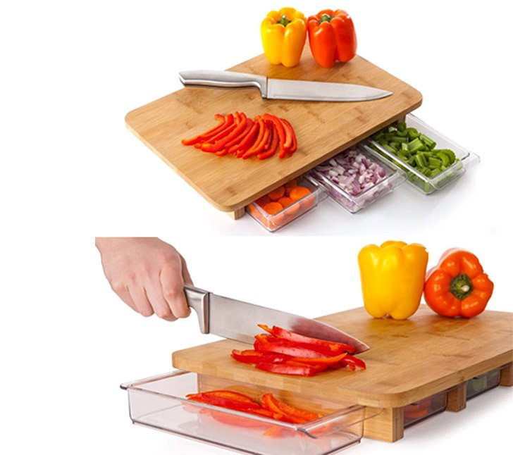 Concealed Drawers Cutting Board - cool cutting boards