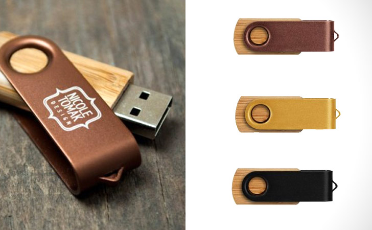 Custom Engraved Bamboo Swivel USB Flash Drive