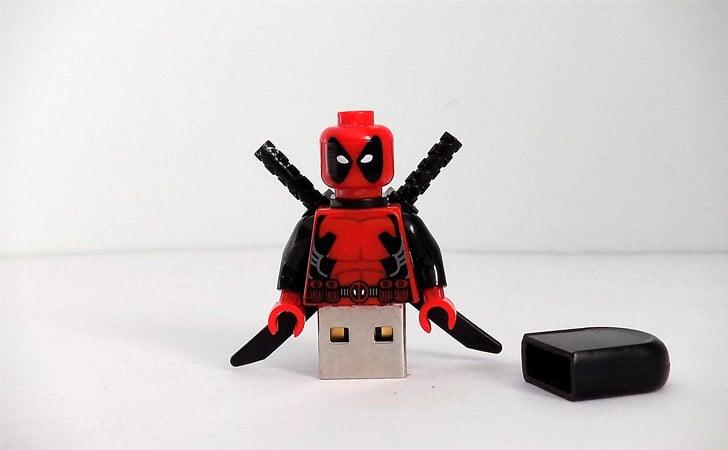 Custom Made Deadpool Minifigure USB