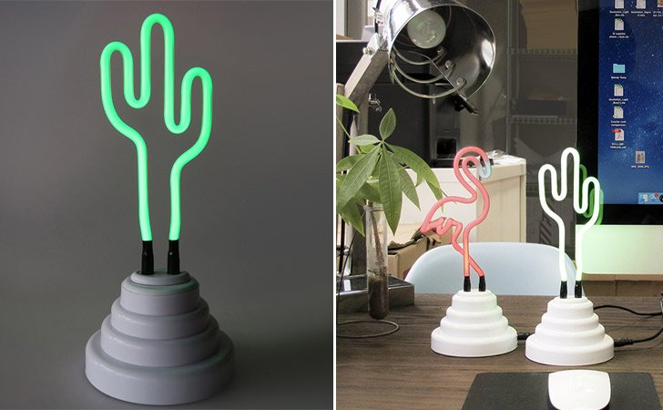 Funky Neon Cactus Table Lamp