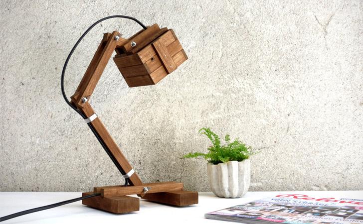 Geometric Wooden Reading Lamp