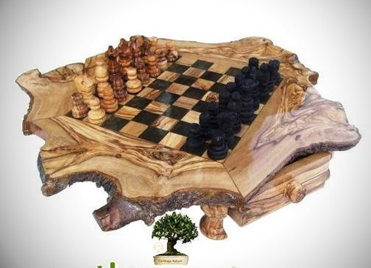 Handcrafted Olive Wood Rustic Chess Set