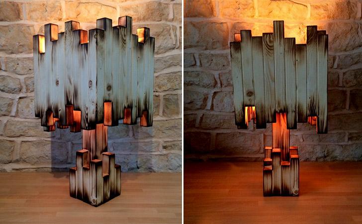 Handmade Wooden Burnt Lamp