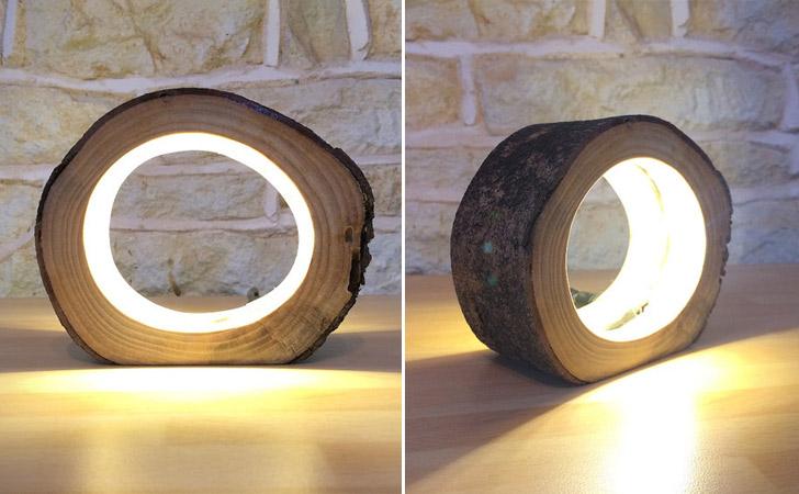 Hollow Log LED Table Lamp