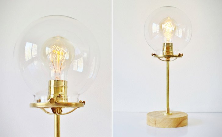 Industrial Brass Globe Lamp