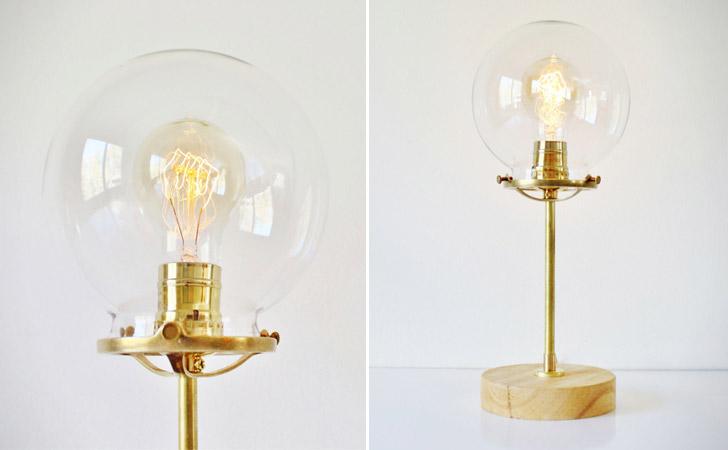 Industrial Brass Globe Lamp