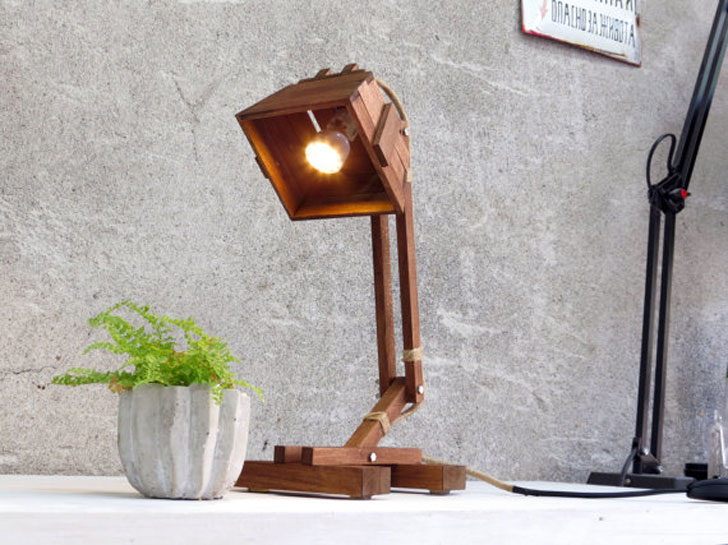 Industrial Wooden Desk Lamp