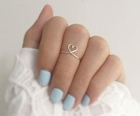 Minimalist Heart Knuckle Ring