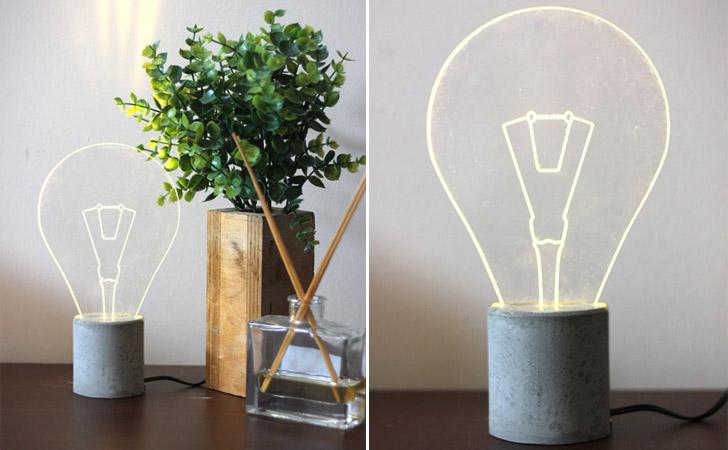 Minimalist Light Bulb Outline Lamp