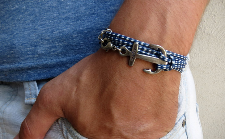 Nautical Theme Silver Anchor Bracelet - creative gifts for boyfriends