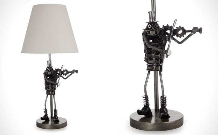 Rustic Metallic Fiddler Table Lamp