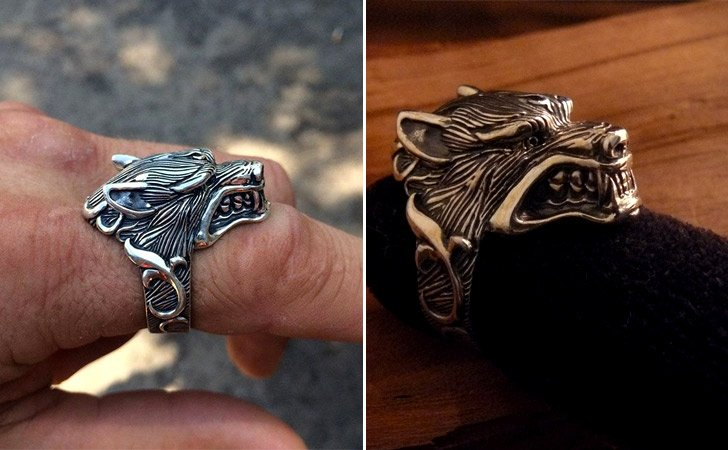 Solid Sterling Silver Wolf Ring