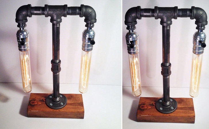 Steampunk Industrial Double Table Lamp