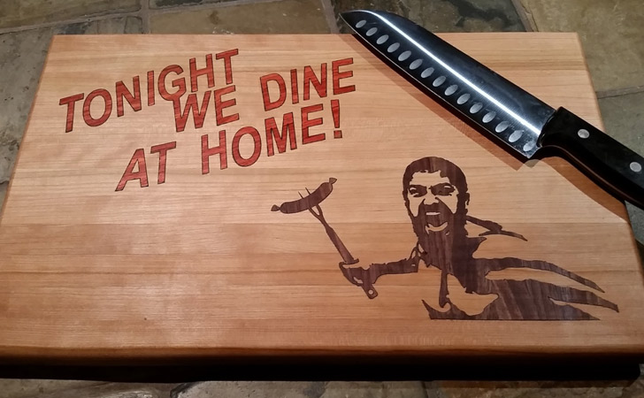 Tonight We Dine At Home Spartan Cutting Board - cool cutting boards