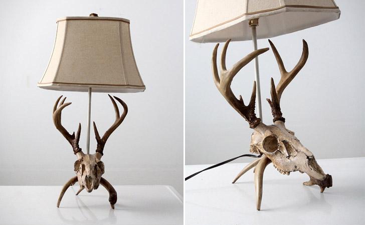 Vintage Deer Skull Table Lamp