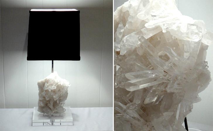 White Quartz Crystal Table Lamp