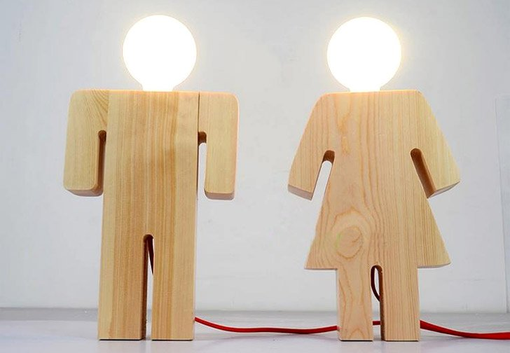 Wooden Boy And Girl Minimalist Lamps - Unique table lamps