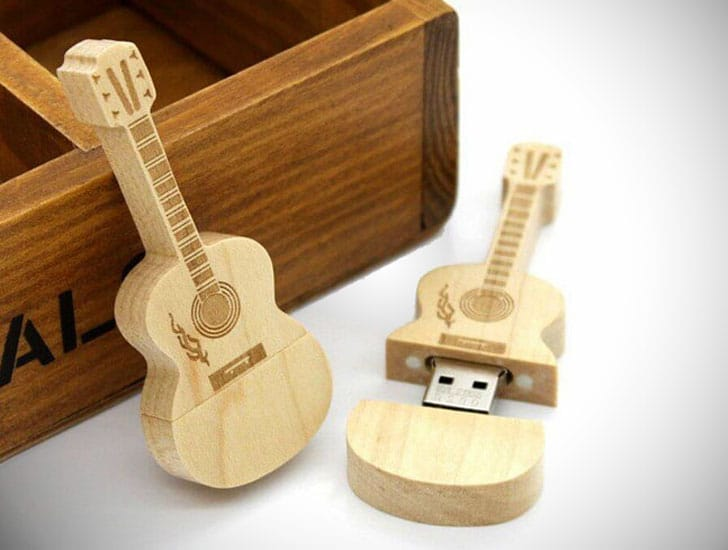 Wooden Guitar Flash Drive With Keychain & Gift Box