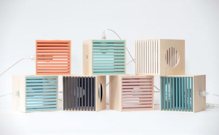 Wooden Retro Box Table Lamps