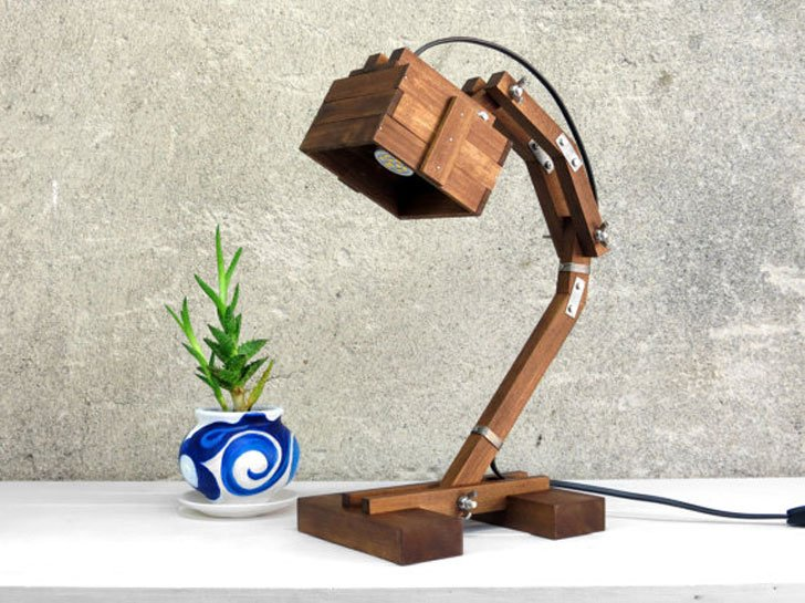 Wooden Steampunk Table Lamp