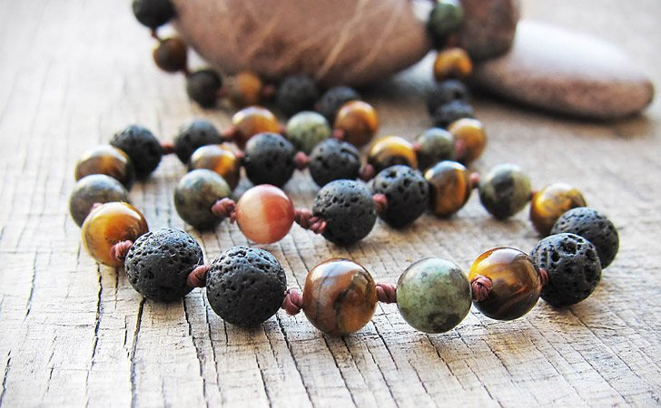 Black Lava Tiger's Eye Bead Necklace