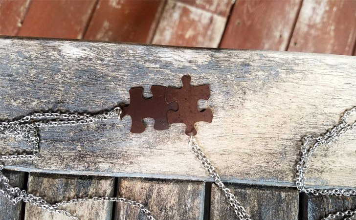 Brass Puzzle Piece Necklace Pair