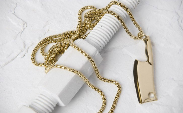 Butcher Knife Gold Necklace