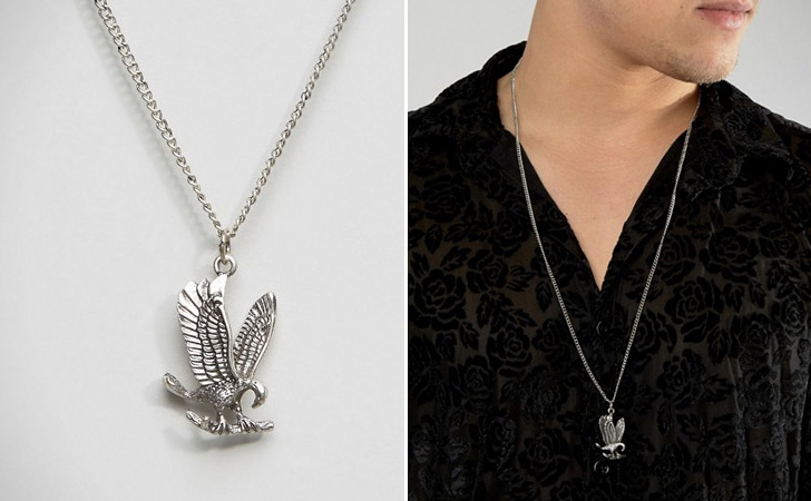 Eagle Silver-Tone Pendant Necklace - cool necklaces for guys
