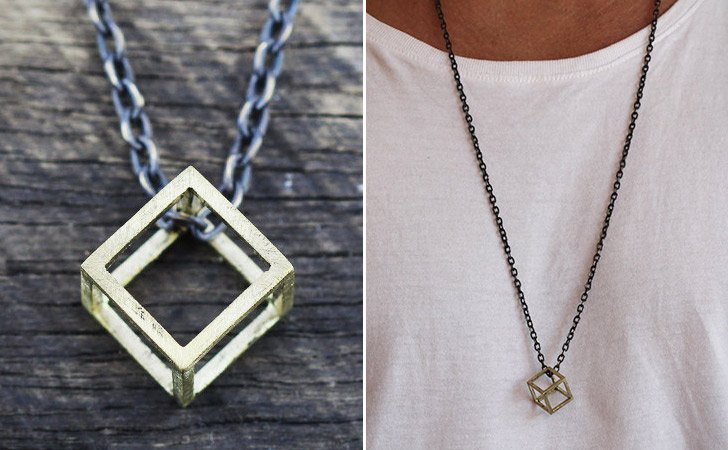 Gold Geometric Cube Necklace - cool necklaces for guys
