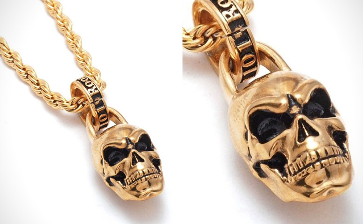 Gold Vermeil Skull Pendant Necklace