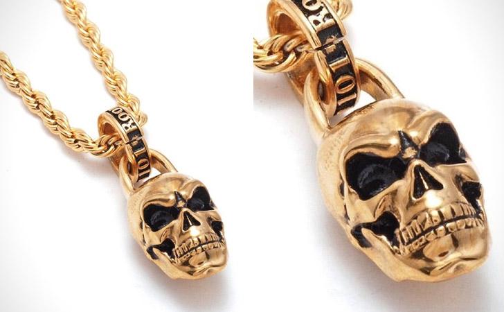 Gold Vermeil Skull Pendant Necklace