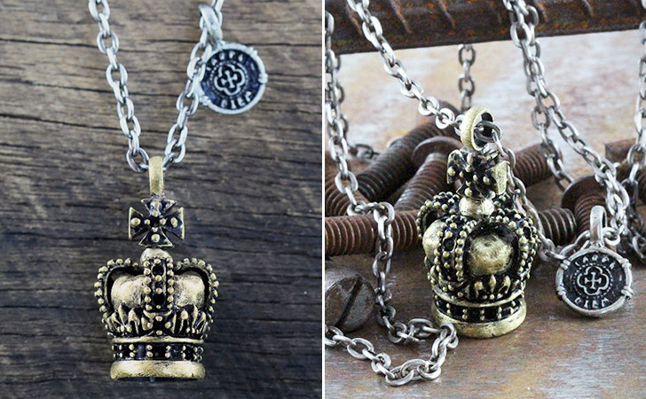 I Am King Crown Brass Necklace