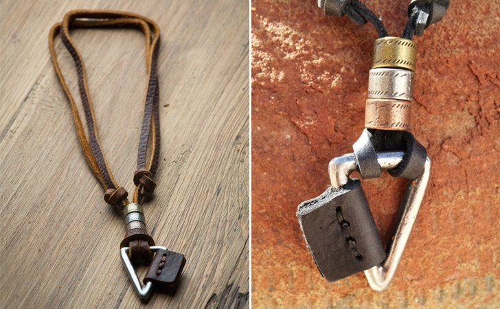 Layered Leather Arrowhead Necklace