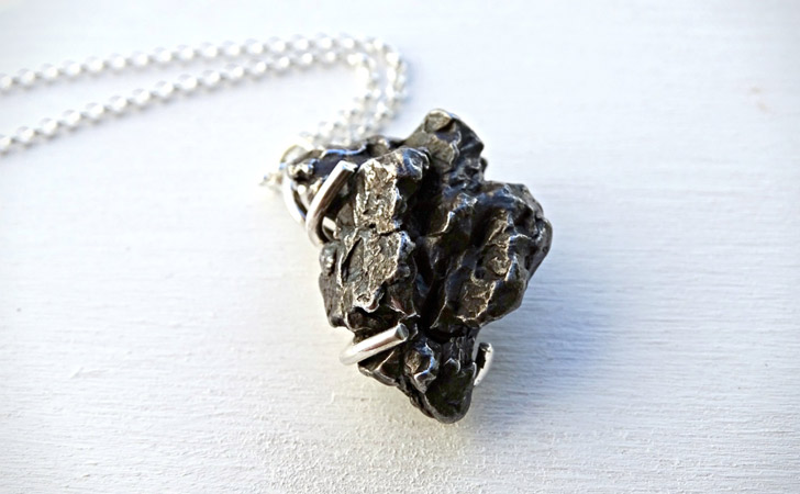 Meteorite Stone Silver Necklace