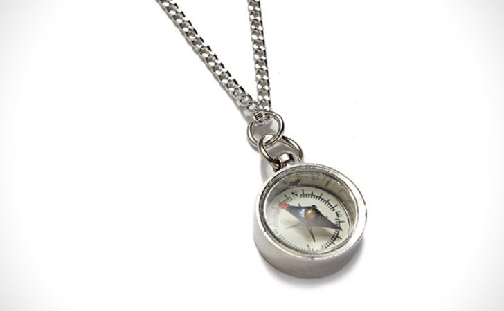 Miniature Compass Brass Necklace