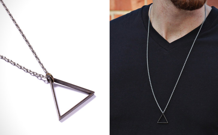 Minimalist Triangle Men's Necklace - cool necklaces for guys