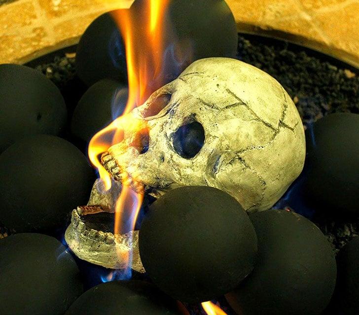Myard Skull Fireplace Logs