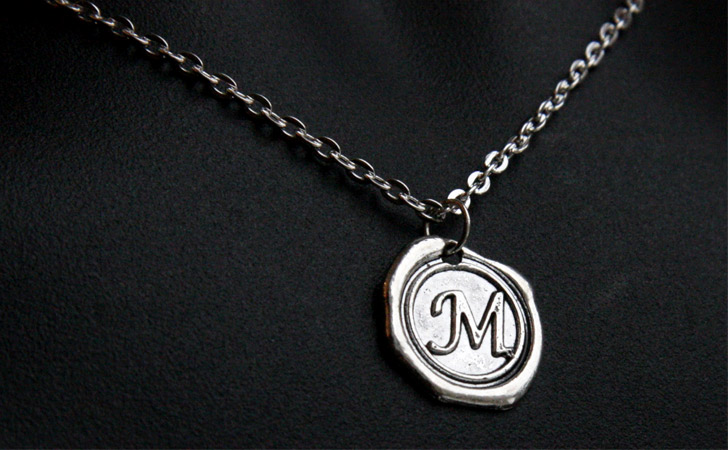 Personalized Monogram Wax Stamp Necklace