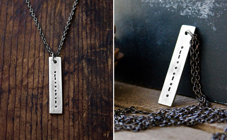Personalized Morse Code Bar Necklace