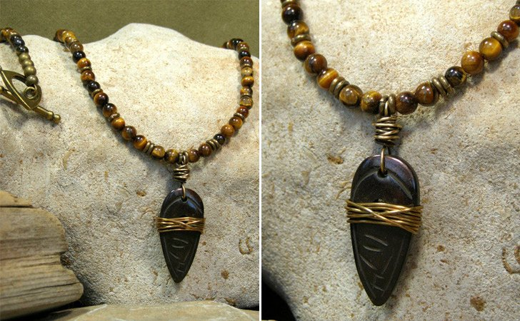 Rustic Tiger's Eye And Bone Necklace