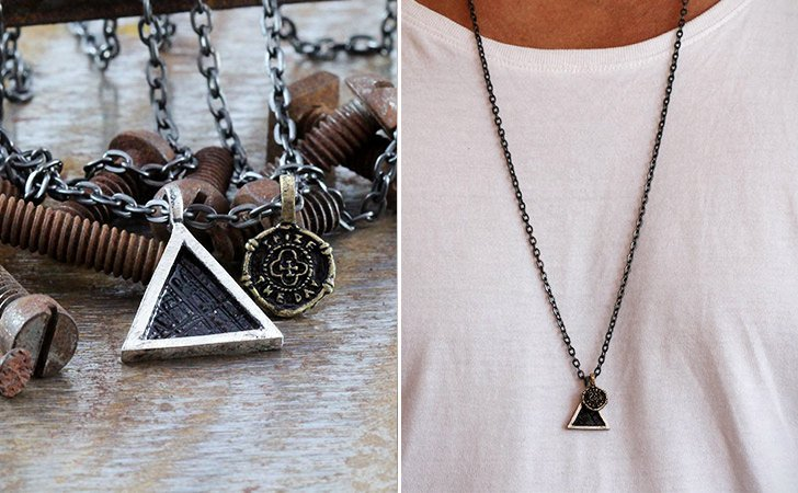 Seize The Day Silver Triangle Necklace - cool necklaces for guys